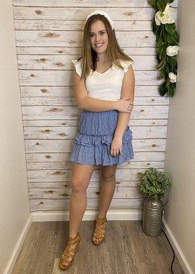 Red Door Blue star ruffle skirt