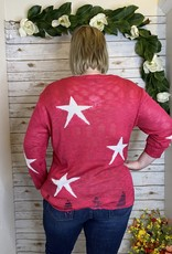 Red Door Fuchsia star distressed sweater