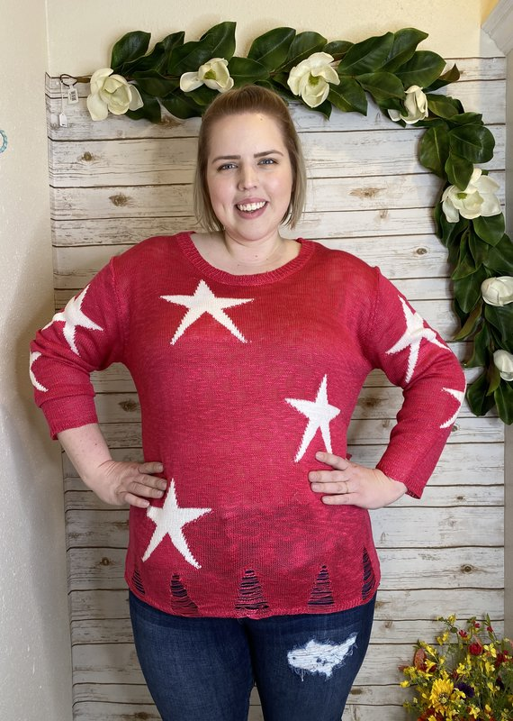 Red Door Fuchsia star distressed sweater