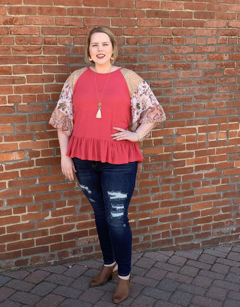 Red Door Strawberry floral paisley mix sleeve top