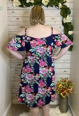 Red Door Navy floral cold shoulder cami dress