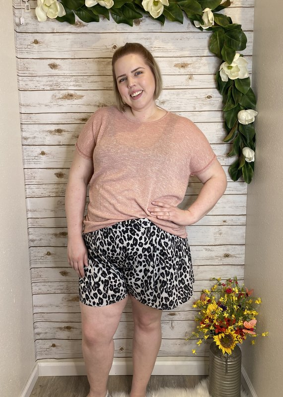 Red Door Grey leopard high waisted shorts