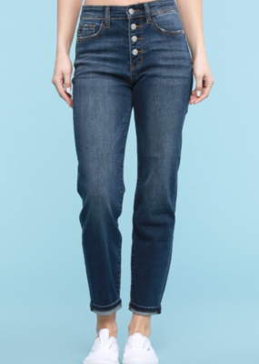 Judy Blue Karoline's button fly dark boyfriend jeans- Judy Blue