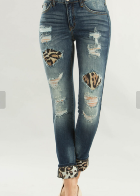Kancan Laura distressed hidden leopard jeans- Kancan