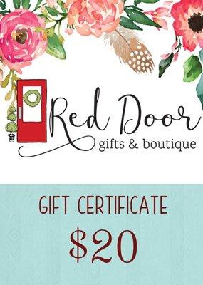 Red Door Gift Certificate-$20- $100