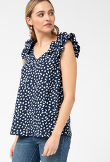 Red Door Navy polka with ruffle straps