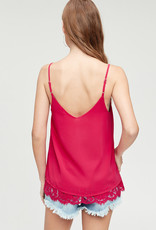 Red Door Tank top with lace vneck and hem