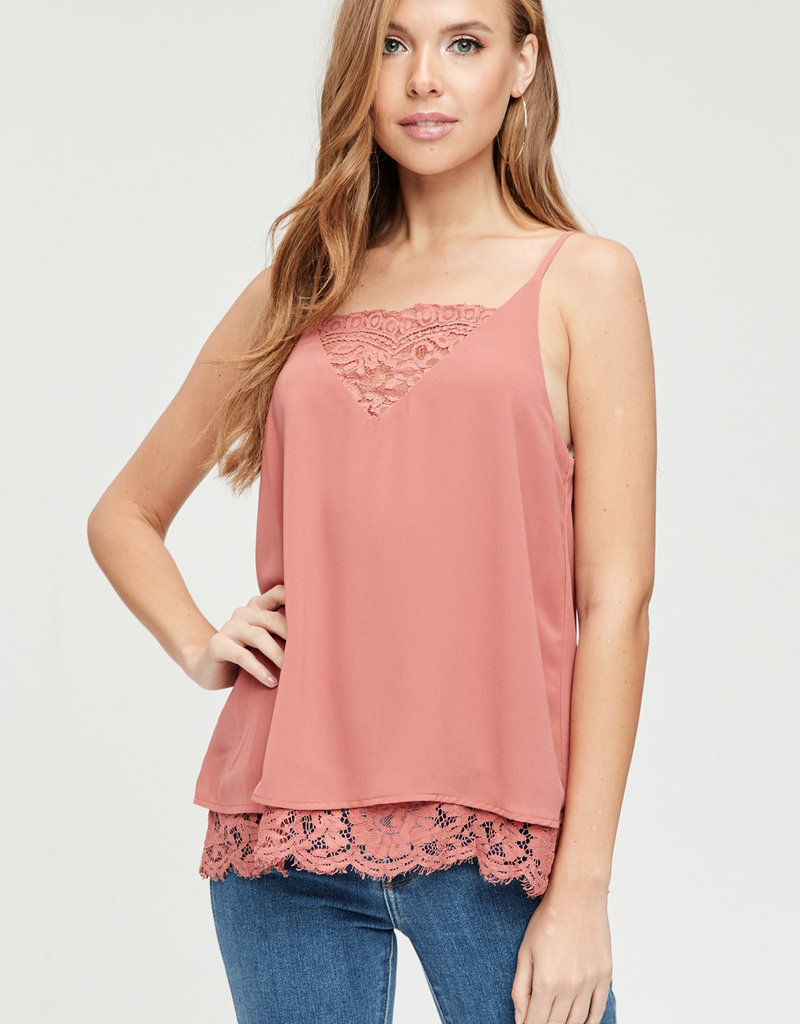 Red Door Salmon tank with lace v neck and bottom