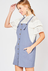 Red Door Blue overall dress with button detail