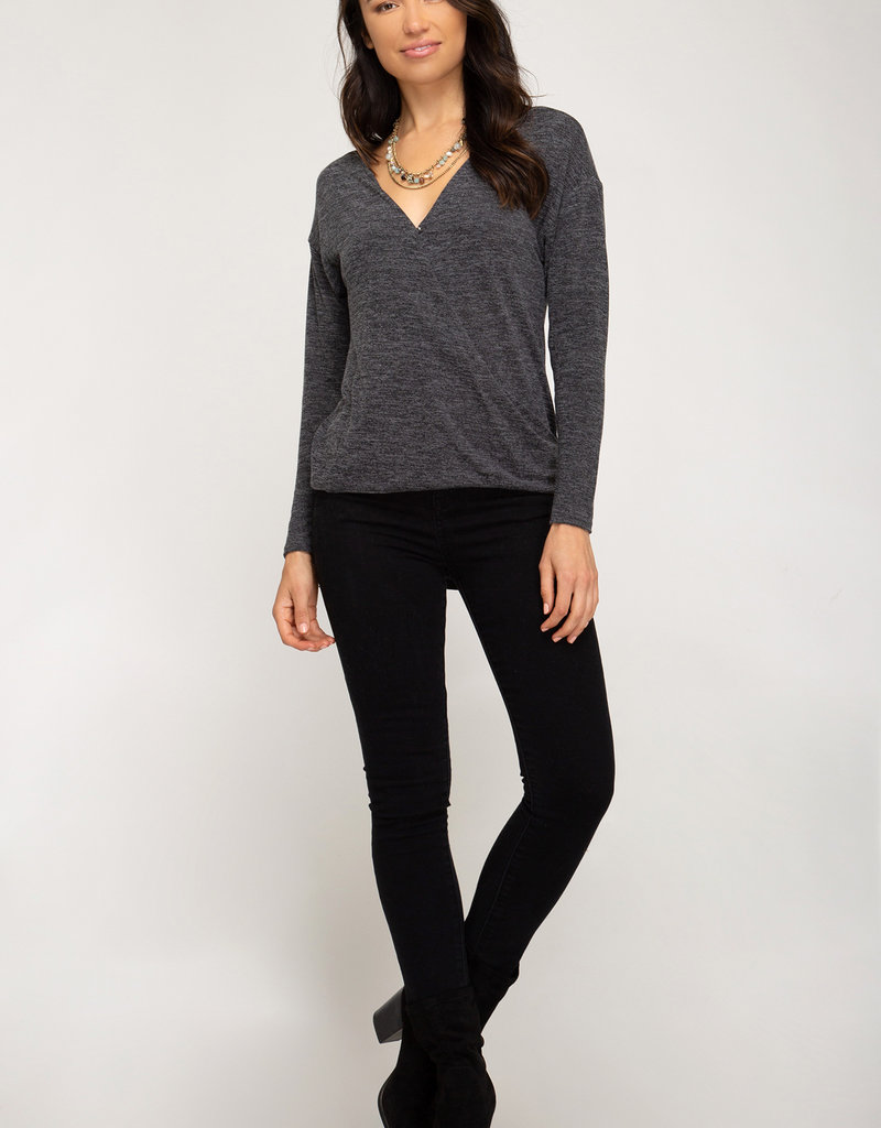 Red Door Charcoal surplice knit top