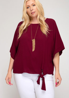 Red Door Flowy burgundy top with side tie