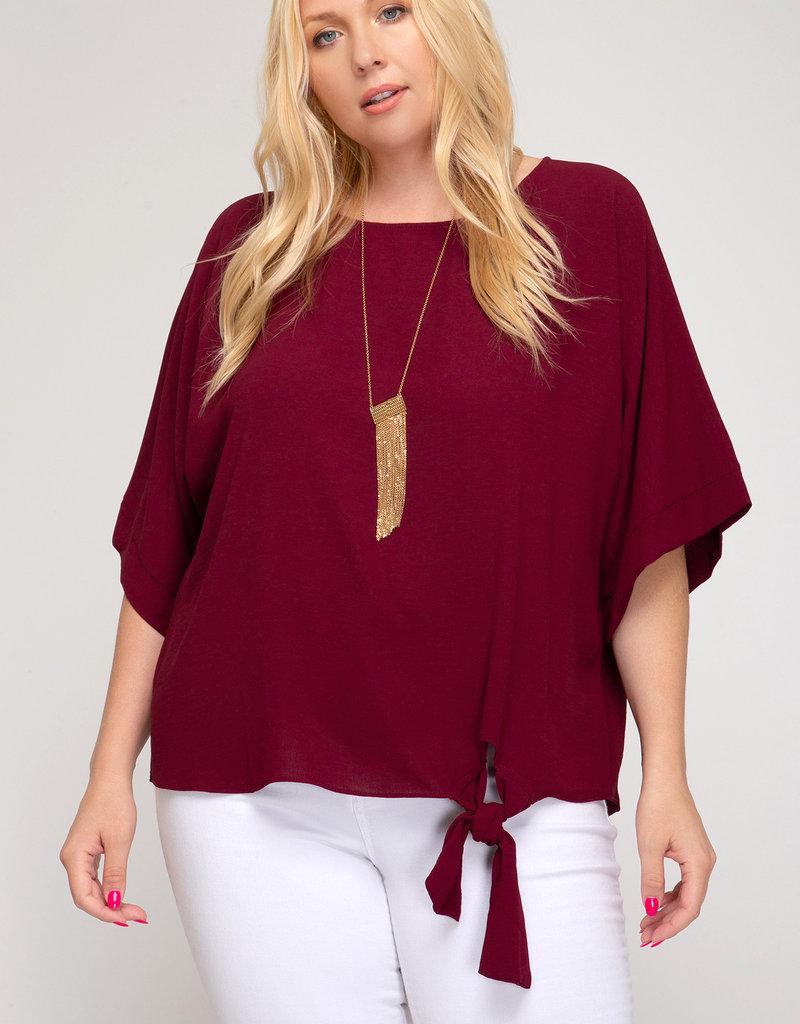 Red Door Flowy burgundy top with side tie