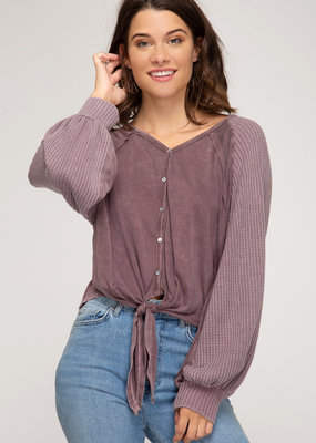Red Door Thermal knit button down tie top