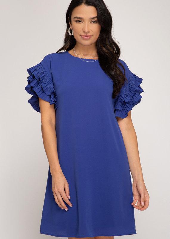 Red Door Blue pleated short sleeve shift dress