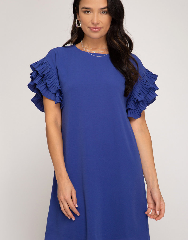 Red Door Blue pleated short sleeve shift dress