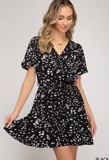 Red Door Black w/white print surplice dress w/ruffle hem