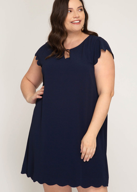 Red Door Navy cap sleeve dress w/scalloped hems