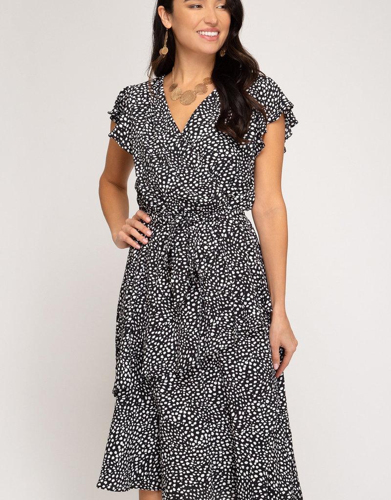 Red Door Black and white print short sleeve surplice dress