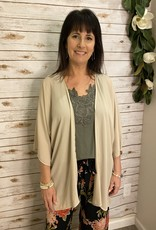 Red Door Taupe solid sheer kimono