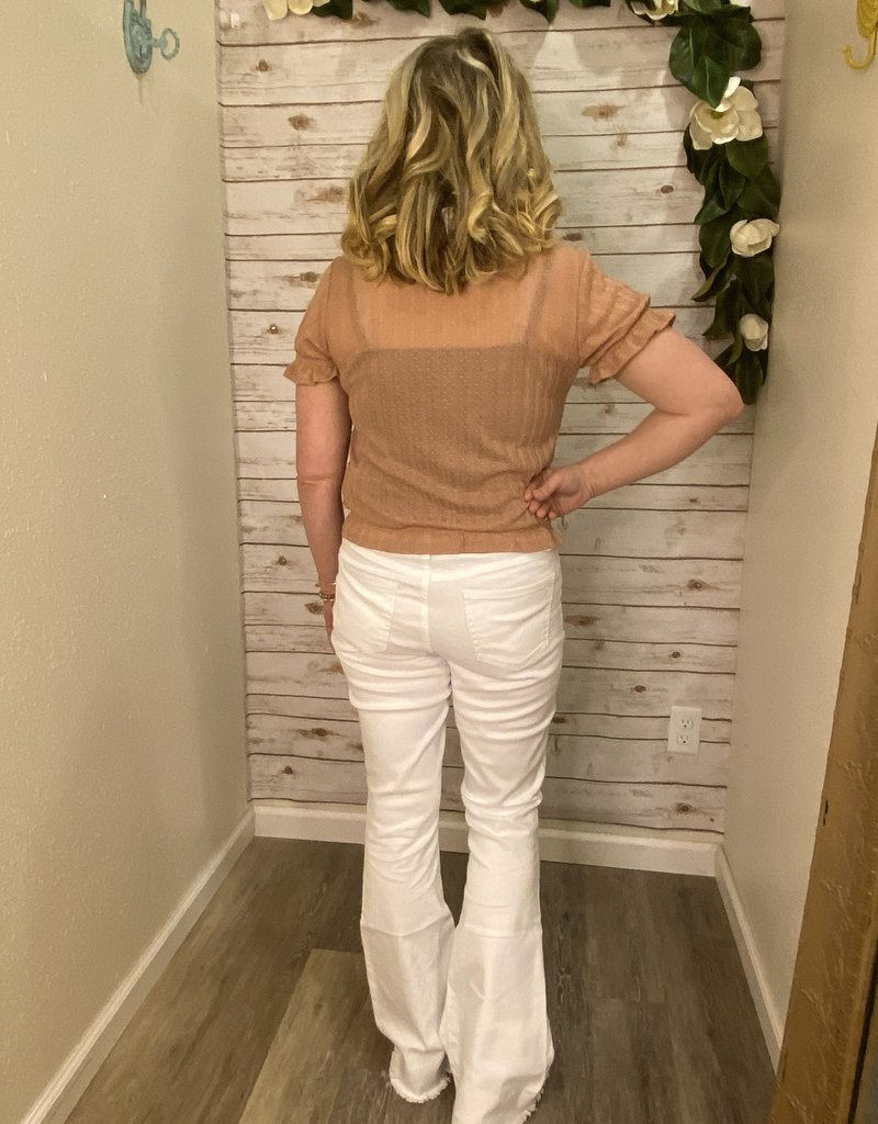 Red Door Whitley's white bow detail flare jeans