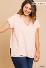 Red Door Vneck top with distressed hem and side slits
