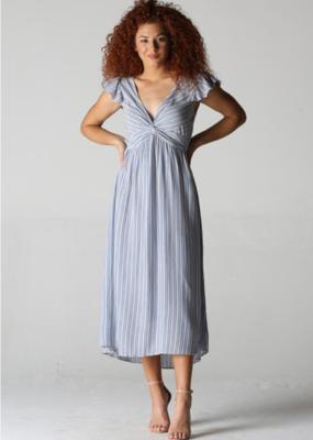 Red Door Blue/white striped twist front dress
