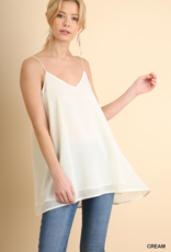 Red Door Cream v-neck chiffon spaghetti strap top