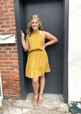 Red Door Mustard halter neck printed dress