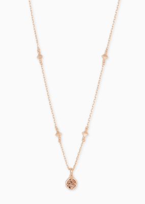 Kendra Scott Nola Short Pendant Rose Gold Necklace with Rose Gold Drusy