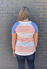 Red Door Star and stripes V neck shirt