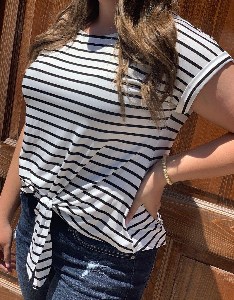 Red Door Drop shoulder striped front tie top