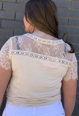 Red Door Beige top with lace shoulders
