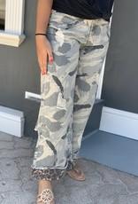 Red Door Camo jeans with leopard hem