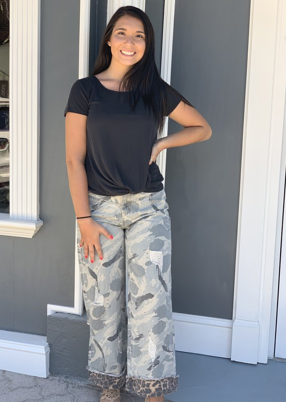 Red Door Camo jeans with leopard hem