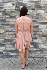 Red Door Peach swiss dot tank dress