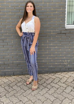 Red Door Navy multi stripe jumpsuit with white top