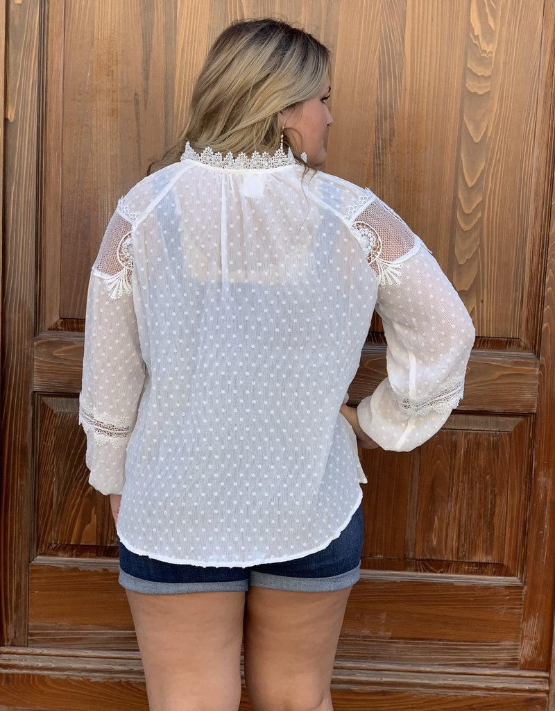 Red Door White swiss dot lace detail top