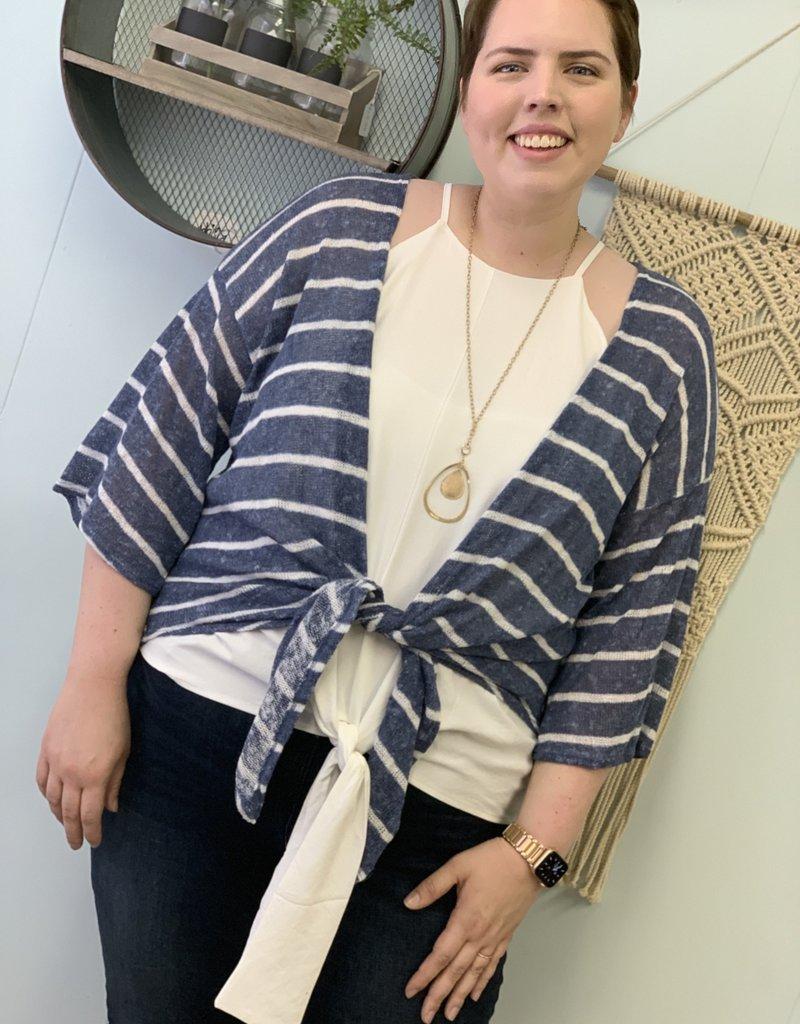 Red Door Denim Blue Striped Knit Kimono