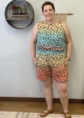 Red Door Ombre leopard comfy shorts
