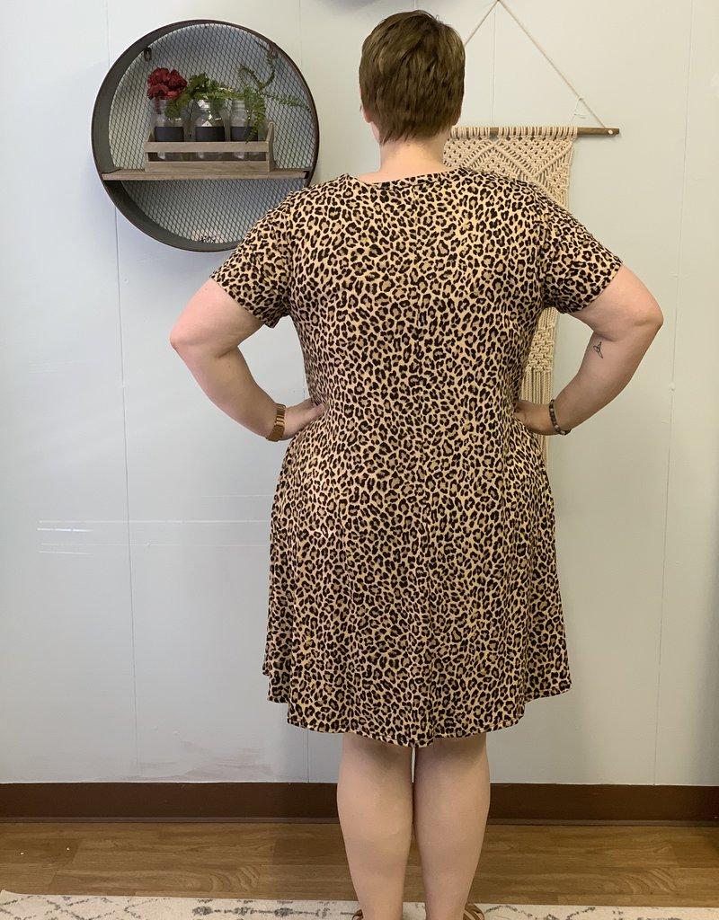 Leopard short sleeve pocket dress