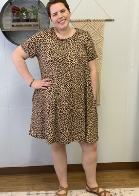 Leopard short sleeve pocket dress