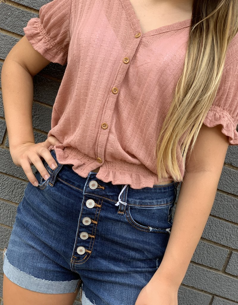 Red Door Mauve button down vneck with puff sleeves