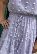 Red Door Lilac swiss dot cinch waist dress