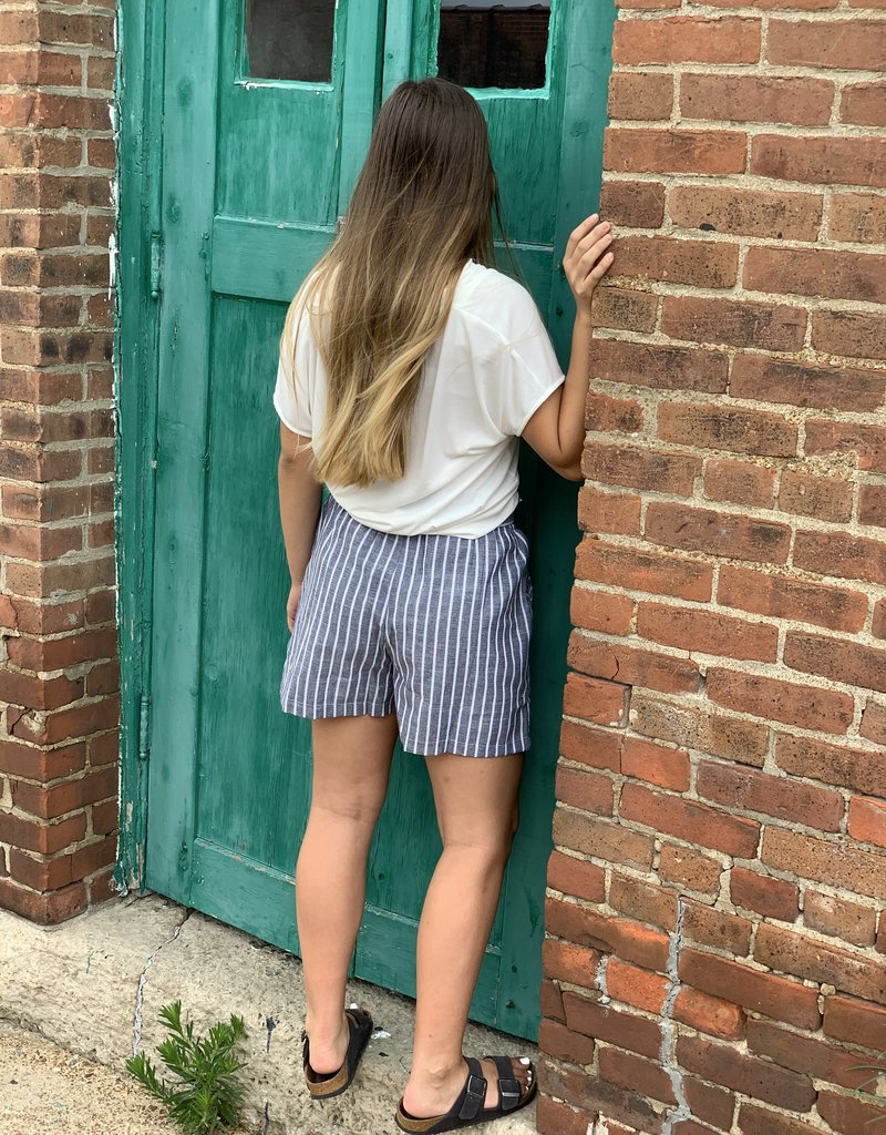Red Door High waist stripe bow tie shorts