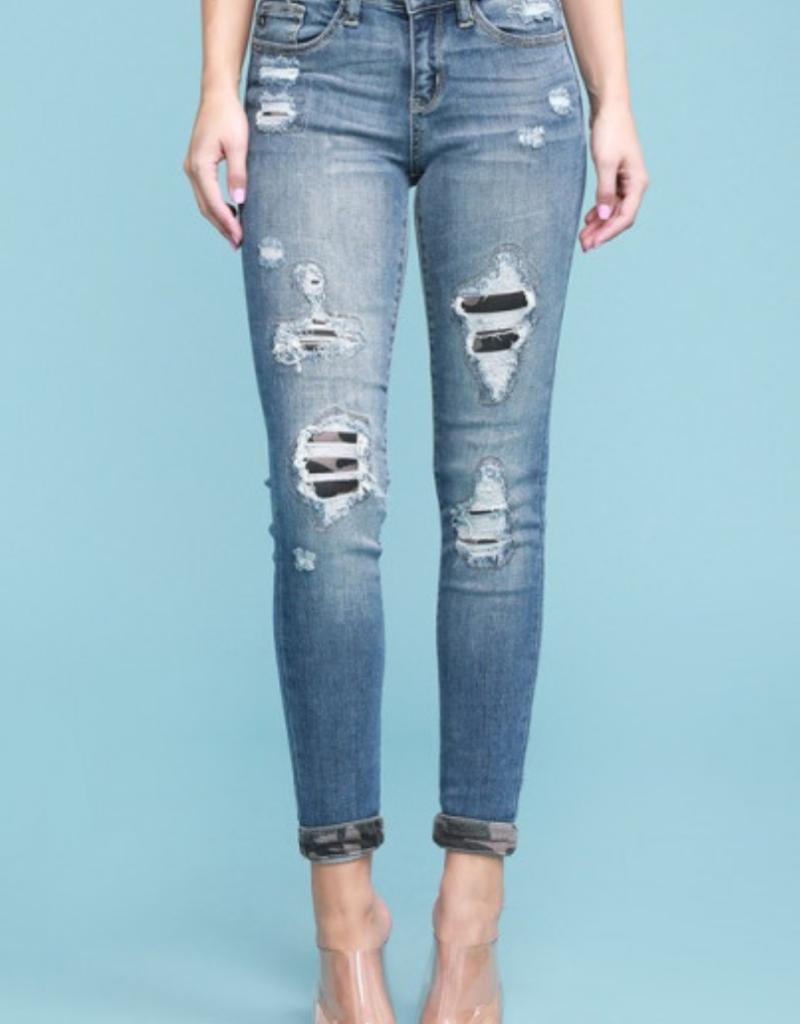 Judy Blue Cardi's camo patch jean