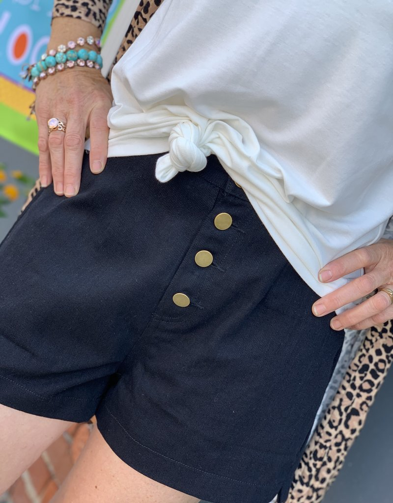 Red Door Black high rise shorts with button detail