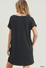 Red Door Black t-shirt pocket dress