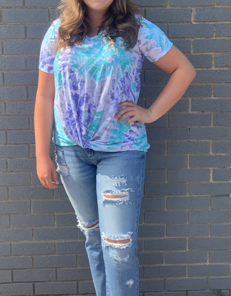 Red Door Blue and teal tie dye with front knot