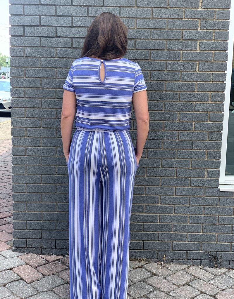 Red Door Blue striped drawstring jumpsuit