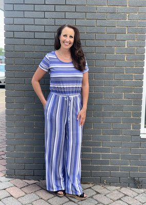 Red Door Blue striped drawstring jumpsuit